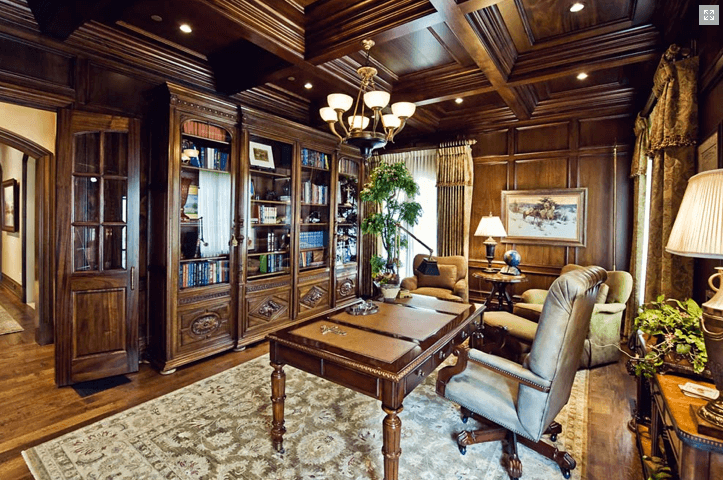 Custom Office Built-Ins and Wood Ceiling