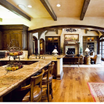 Cabinetry, arched opening, columns, custom ceiling by Interior Concepts DFW